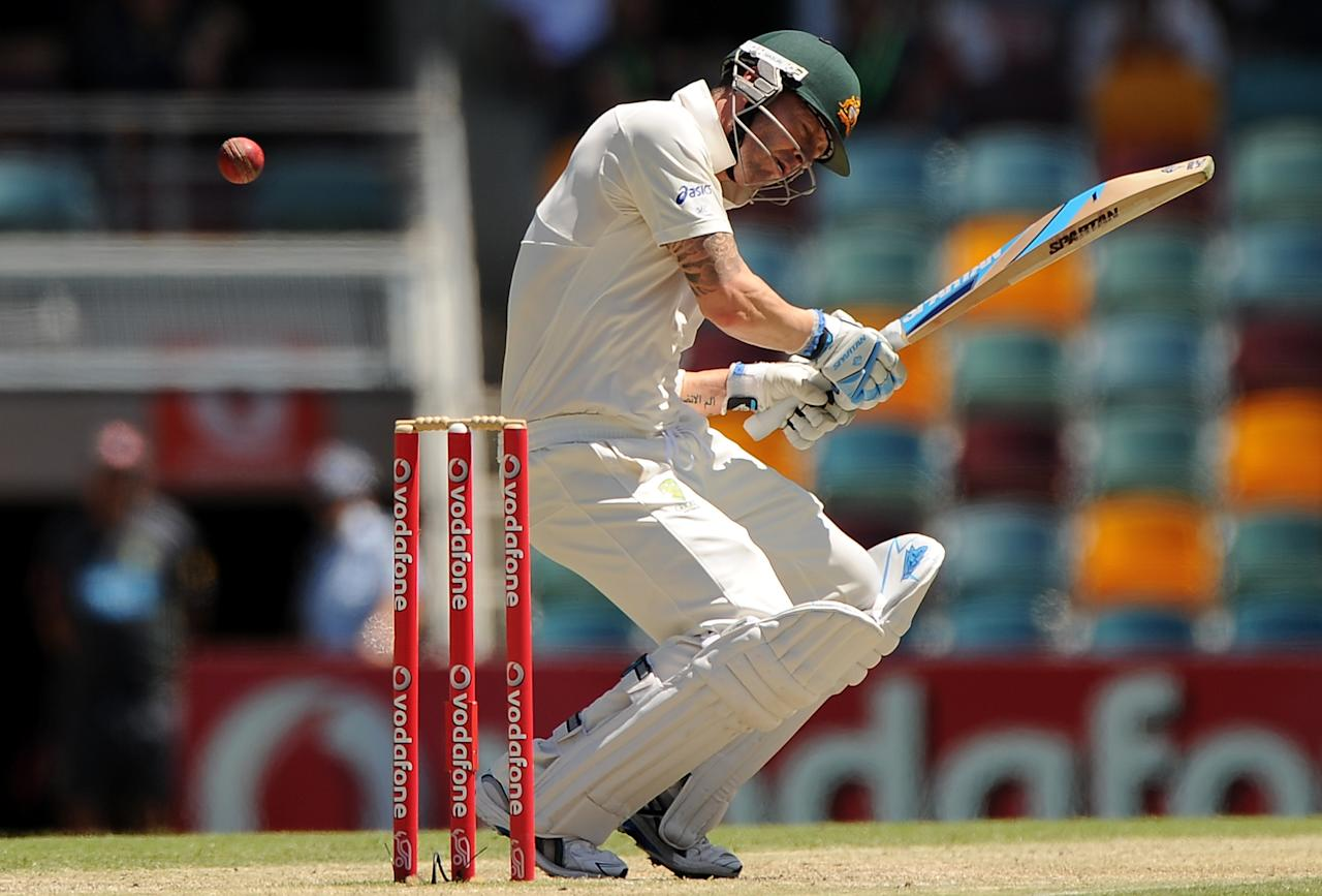 BRISBANE, AUSTRALIA - NOVEMBER 13:  Michael Clarke of Australia bats during day five of the First Test match between Australia and South Africa at The Gabba on November 13, 2012 in Brisbane, Australia.  (Photo by Matt Roberts/Getty Images)