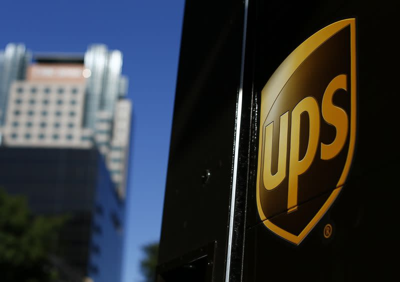 A United Parcel Service truck on delivery is pictured in downtown Los Angeles