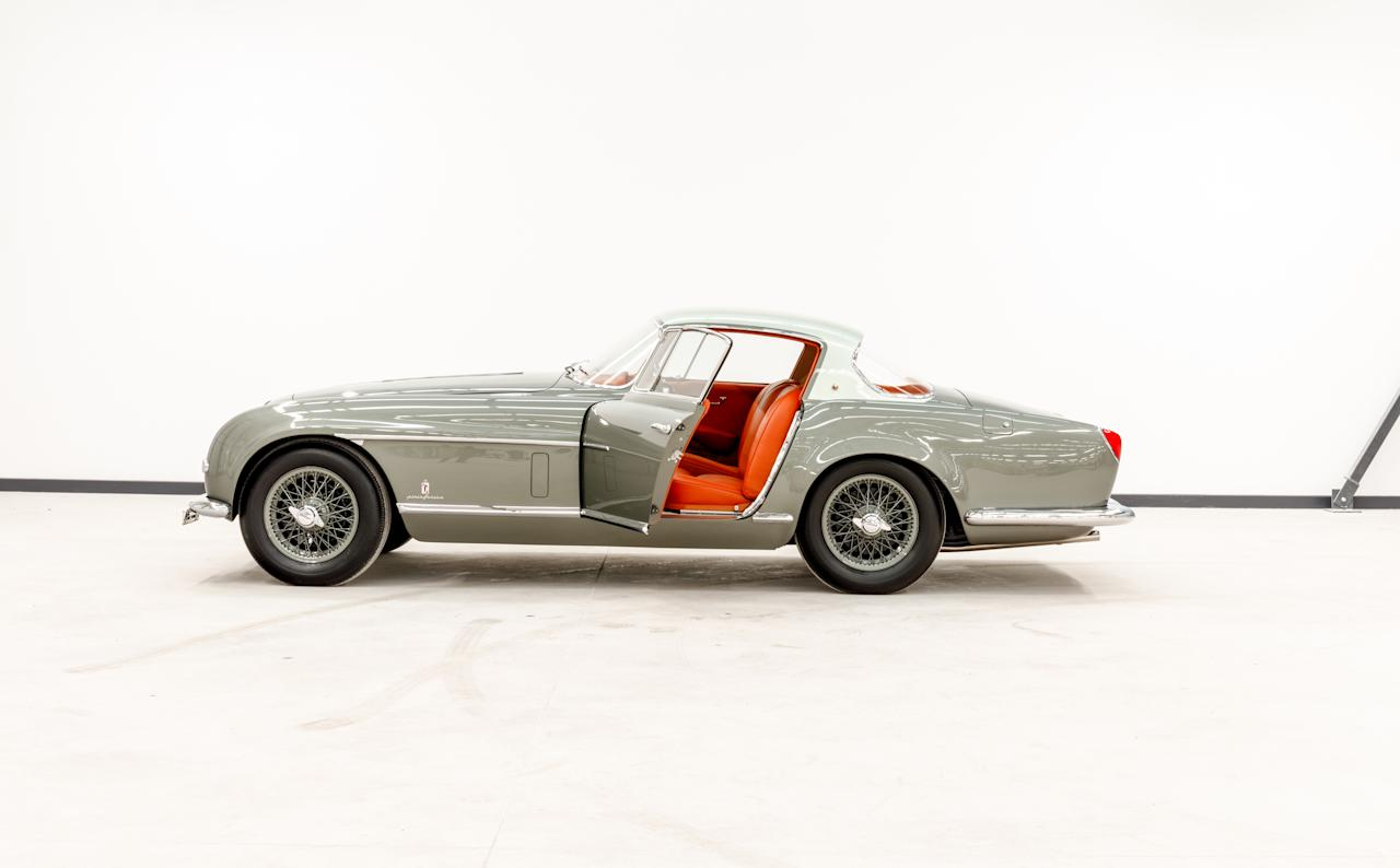 <p>The gleaming, fully restored 1954 Jaguar XK120 SE is shown off in the studio after its pain-staking nuts and bolts restoration. </p>