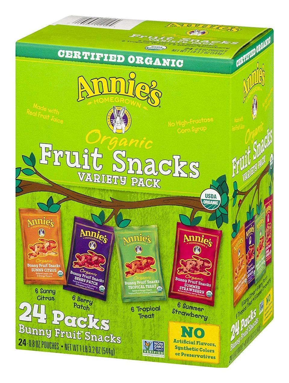 """<p><strong>Annie's Homegrown</strong></p><p>amazon.com</p><p><a href=""""https://www.amazon.com/dp/B003V5V5J6?tag=syn-yahoo-20&ascsubtag=%5Bartid%7C1782.g.4497%5Bsrc%7Cyahoo-us"""" rel=""""nofollow noopener"""" target=""""_blank"""" data-ylk=""""slk:BUY NOW"""" class=""""link rapid-noclick-resp"""">BUY NOW</a></p><p>You're never too old for fruit snacks.</p>"""
