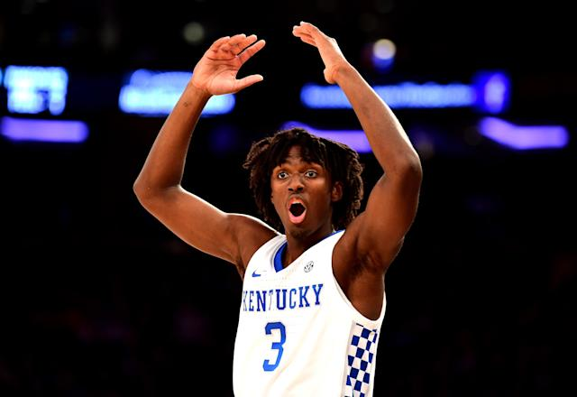 "<a class=""link rapid-noclick-resp"" href=""/ncaab/players/153912/"" data-ylk=""slk:Tyrese Maxey"">Tyrese Maxey</a> #3 of the Kentucky Wildcats reacts in the second half of their game against the Michigan State Spartans on Tuesday. (Getty)"