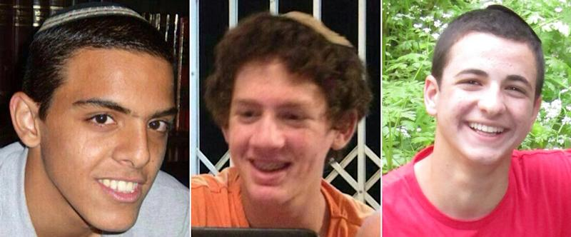A combination of undated family handout pictures made on June 18, 2014 shows the three Israeli teenagers kidnapped and murdered