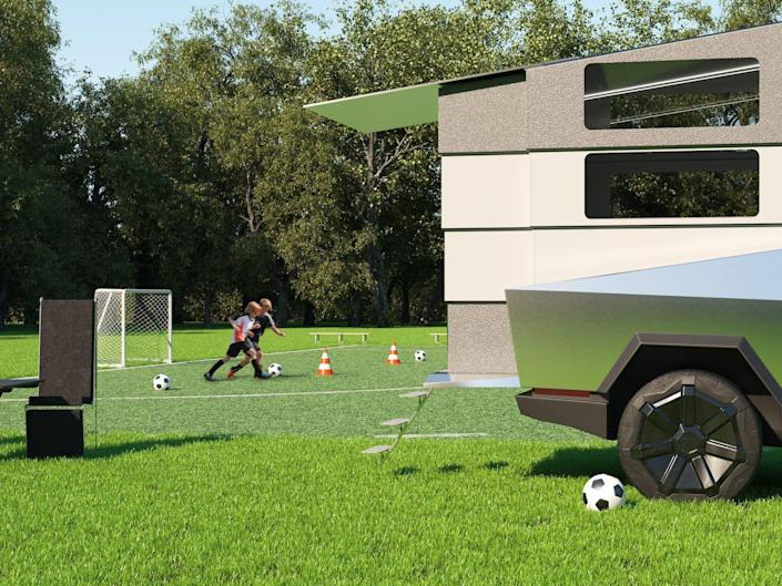 a rendering of the back of the cyberlandr on the cybertruck at a soccer game