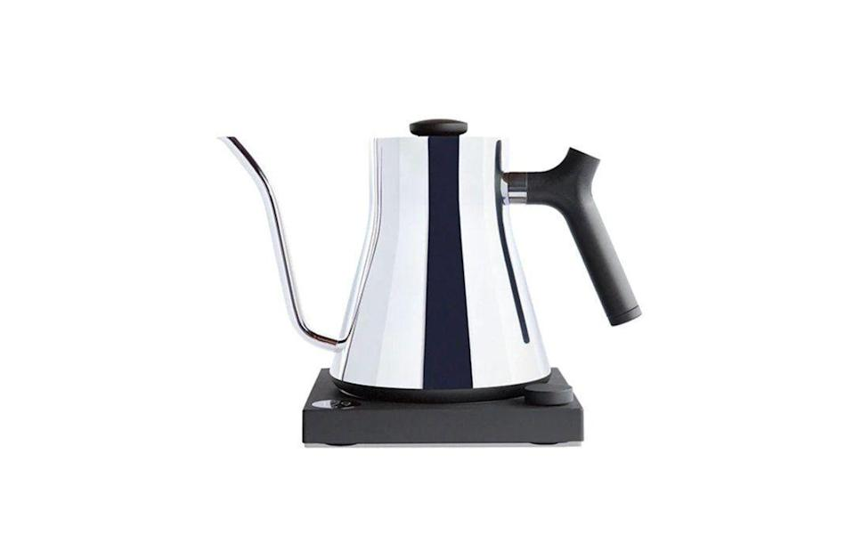 "<p><strong>Redbay Coffee</strong></p><p>redbaycoffee.com</p><p><strong>$149.00</strong></p><p><a href=""https://www.redbaycoffee.com/collections/drinkware/products/electric-pour-over-kettle-fellow-stagg-ekg"" rel=""nofollow noopener"" target=""_blank"" data-ylk=""slk:Shop Now"" class=""link rapid-noclick-resp"">Shop Now</a></p><p>Redbay Coffee's electric kettle ensures your mom's day starts off as seamlessly as possible. It comes in a few different options so you can match it according to Mom's current kitchen appliances.</p>"