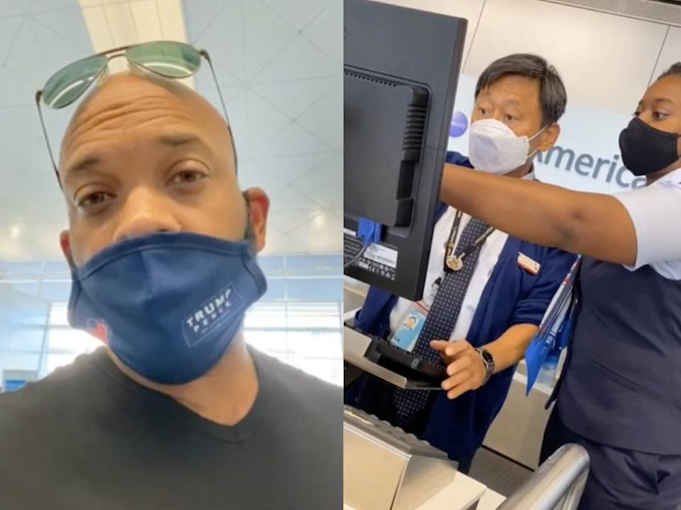 """David Harris Jr. was banned from future American Airlines flights after refusing to wear a mask. <p class=""""copyright""""><a href=""""https://www.instagram.com/p/CDwI6t2Jabj/"""" rel=""""nofollow noopener"""" target=""""_blank"""" data-ylk=""""slk:@davidjharrisjr/Instagram"""" class=""""link rapid-noclick-resp"""">@davidjharrisjr/Instagram</a></p>"""