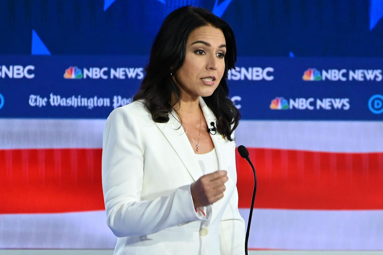 Democratic presidential hopeful Representative for Hawaii Tulsi Gabbard speaks during the fifth Democratic primary debate of the 2020 presidential campaign season co-hosted by MSNBC and The Washington Post at Tyler Perry Studios in Atlanta, Georgia on November 20, 2019. (Photo: Saul Loeb/AFP via Getty Images)