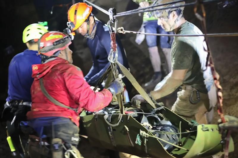 The boys were stretchered along the passageways of the cave complex using a system of ropes and pulleys (AFP Photo/Handout)