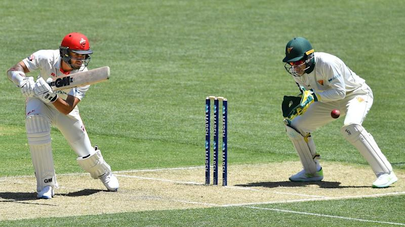 Jake Weatherald (L) is 117 not out for South Australia in the Sheffield Shield match with Tasmania