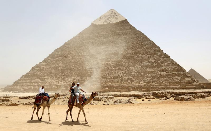 Researchers examining the Great Pyramid of Giza say they have found a 100-foot-long cavity inside. (Mohamed Abd El Ghany / Reuters)