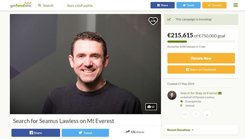 Screengrab taken from the GoFundMe page set up for Seamus Lawless who went missing on Everest a week before Mr Hynes. (PA)