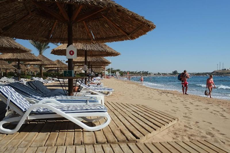 A beach in the Egyptian Red Sea resort of Sharm el-Sheikh on February 19, 2014