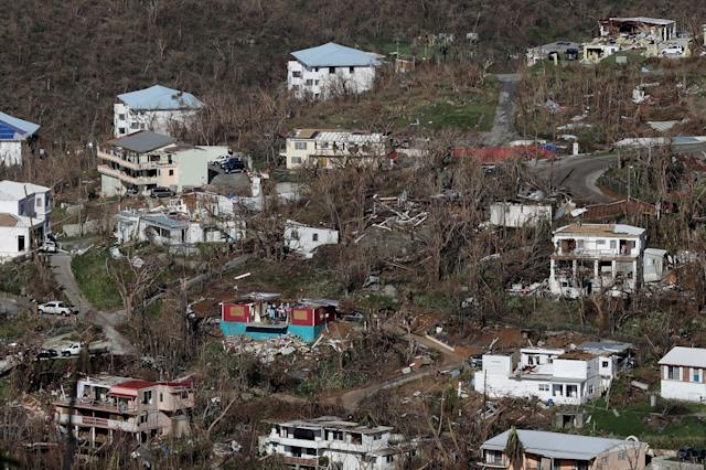Damaged houses dot the hillsides in Charlotte Amalie, St. Thomas, more than a week after Hurricane Irma hit the U.S. Virgin Islands.