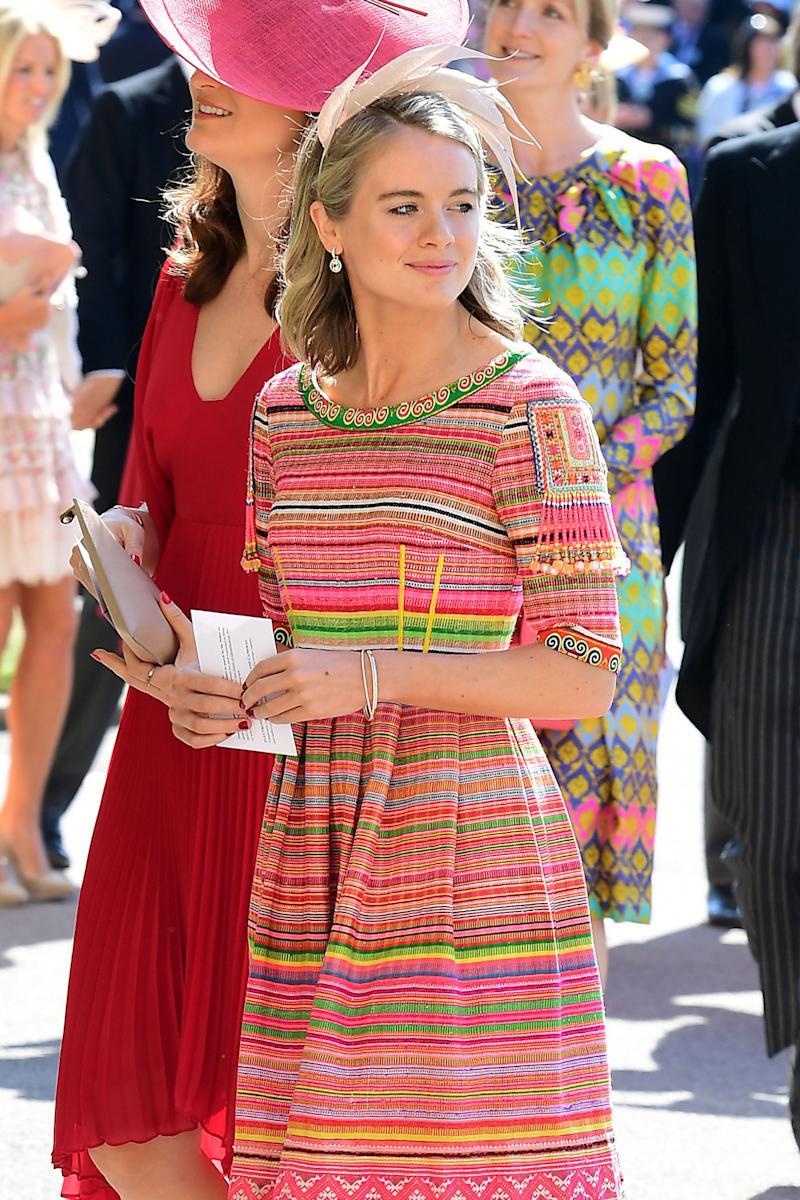 Cressida Bonas arrives at St George's Chapel at Windsor Castle before the wedding of Prince Harry to Meghan Markle on May 19, 2018 in Windsor, England.