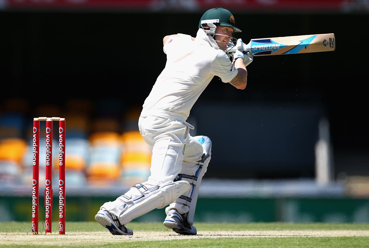 BRISBANE, AUSTRALIA - NOVEMBER 13: Michael Clarke of Australia bats during day five of the First Test match between Australia and South Africa at The Gabba on November 13, 2012 in Brisbane, Australia.  (Photo by Ryan Pierse/Getty Images)