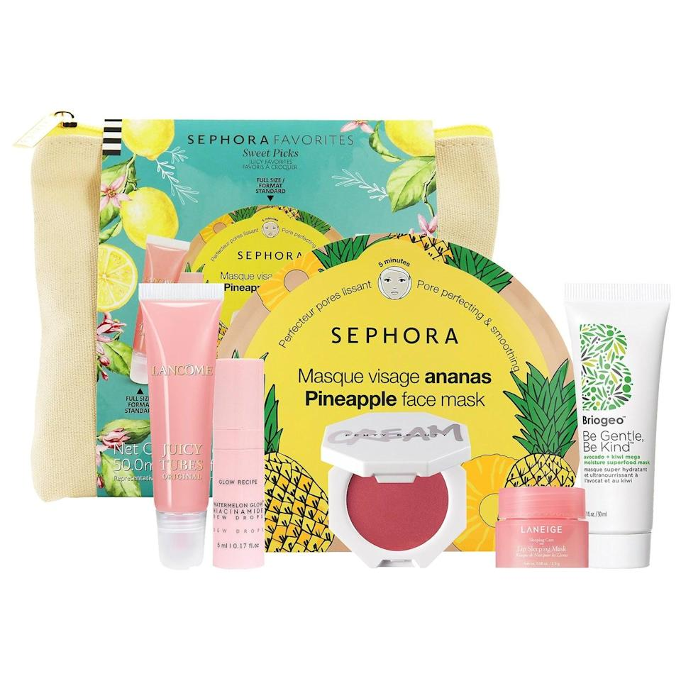 """<h2>Sephora Sweet Picks Summer Essentials Set</h2><br>""""This sweet gift set reminds us of watermelon sugar and summertime goodness, which your crabby BFF will appreciate,"""" Stardust recommends.<br><br><strong>Sephora Favorites</strong> Sweet Picks Summer Essentials Set, $, available at <a href=""""https://go.skimresources.com/?id=30283X879131&url=https%3A%2F%2Fwww.sephora.com%2Fproduct%2Fsephora-favorites-sweet-picks-summer-essentials-set-P469877%3Ficid2%3Dvalue%2520sets%3Ap469877%3Aproduct"""" rel=""""nofollow noopener"""" target=""""_blank"""" data-ylk=""""slk:Sephora"""" class=""""link rapid-noclick-resp"""">Sephora</a>"""