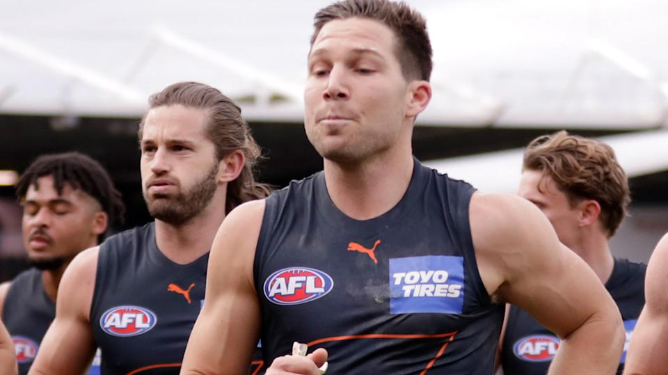 The GWS Giants will be at a serious disadvantage if Toby Greene is suspended by the AFL Tribunal ahead of this weekend's semi-final. (Photo by Grant Viney/AFL Photos via Getty Images)