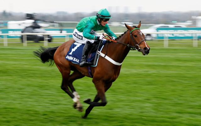 Horse Racing - Grand National Festival - Aintree Racecourse, Liverpool, Britain - April 12, 2018 We Have A Dream ridden by D A Jacob in action before winning the 14:20 Doom Bar Anniversary 4-Y-O Juvenile Hurdle Action Images via Reuters/Jason Cairnduff