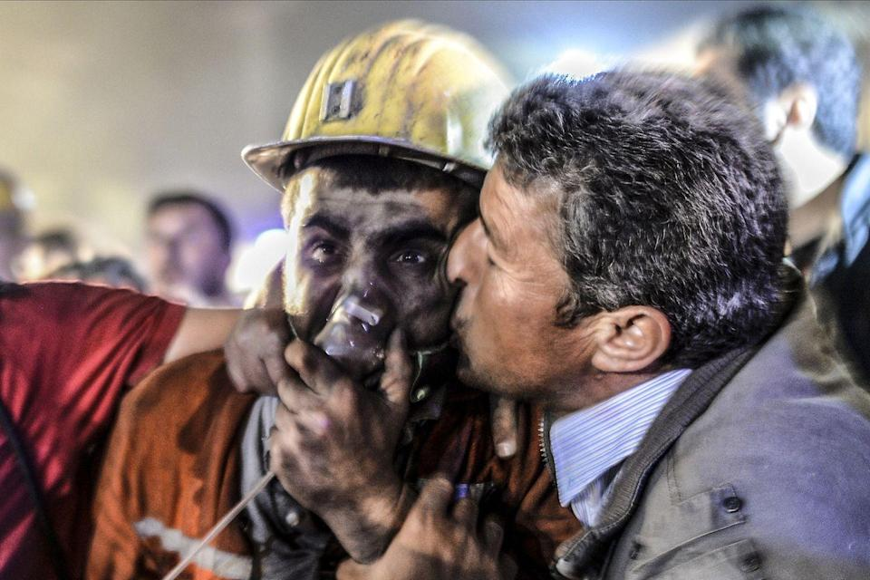 <p>2014. Getty Caption: A man kisses his son, rescued of the mine, on May 13, 2014 after an explosion in a coal mine in Manisa. At least 157 miners were killed in collapsed coal mine in the western Turkish city of Manisa. 'At least 200-300 workers were working in the mine when an electric fault caused an explosion,' the mayor of Soma, a district of Manisa, told private NTV television.</p>