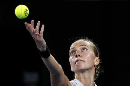 Tennis - Australian Open - Women's Singles Final - Melbourne Park, Melbourne, Australia, January 26, 2019. Czech Republic's Petra Kvitova in action during her match against Japan's Naomi Osaka. REUTERS/Kim Kyung-Hoon