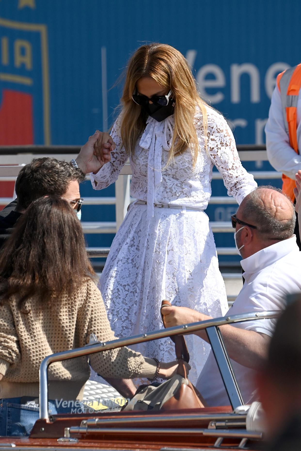 Jennifer Lopez wears a £3300 dress from Italian fashion house Valentino to arrive at the 78th Venice International Film Festival. (Getty Images)