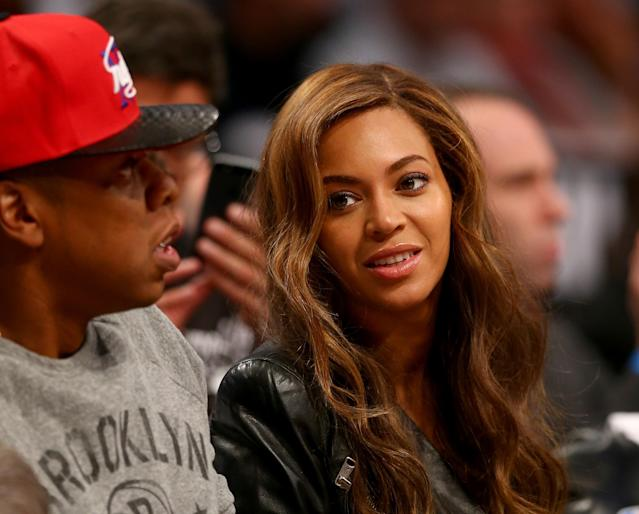 NEW YORK, NY - MAY 02: Jay-Z and Beyonce attend Game Six of the Eastern Conference Quarterfinals during the 2014 NBA Playoffs at the Barclays Center on May 2, 2014 in the Brooklyn borough of New York City. NOTE TO USER: User expressly acknowledges and agrees that, by downloading and/or using this photograph, user is consenting to the terms and conditions of the Getty Images License Agreement. (Photo by Elsa/Getty Images)