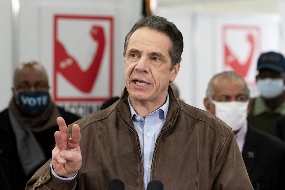 Gov. Andrew Cuomo speaks during a visit to a new COVID-19 vaccination site, Monday, March 15, 2021, at the State University of New York in Old Westbury. The site is scheduled to open on Friday. (Mark Lennihan/AP Photo)