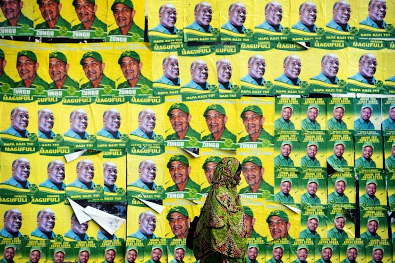 A woman walks past posters for John Magufuli and parliamentary candidate Hassan Zungu on October 20, 2015 in Dar es Salaam (AFP Photo/Daniel Hayduk)