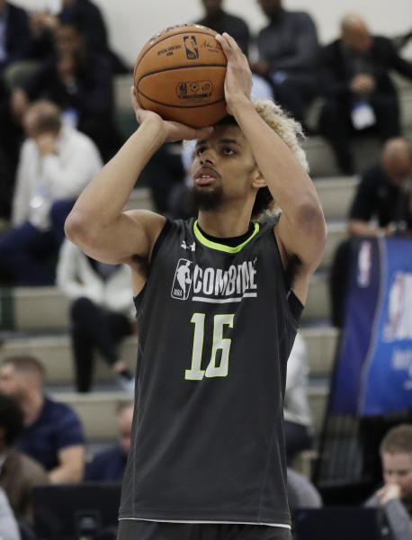 Brian Bowen shoots during the second day of the NBA draft basketball combine in Chicago, Friday, May 17, 2019. (AP Photo/Nam Y. Huh)