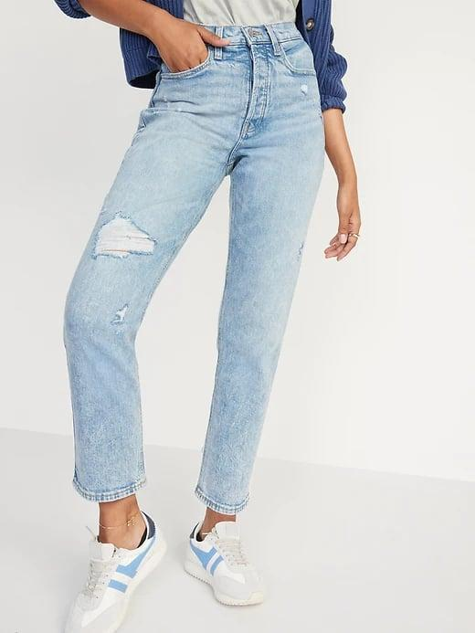 <p>The cut of these <span>Old Navy Extra High-Waisted Button-Fly Curvy Sky-Hi Straight Jeans</span> ($40) leave more space in the hip and thigh while still maintaining a straight, not-too-skinny, fit.</p>