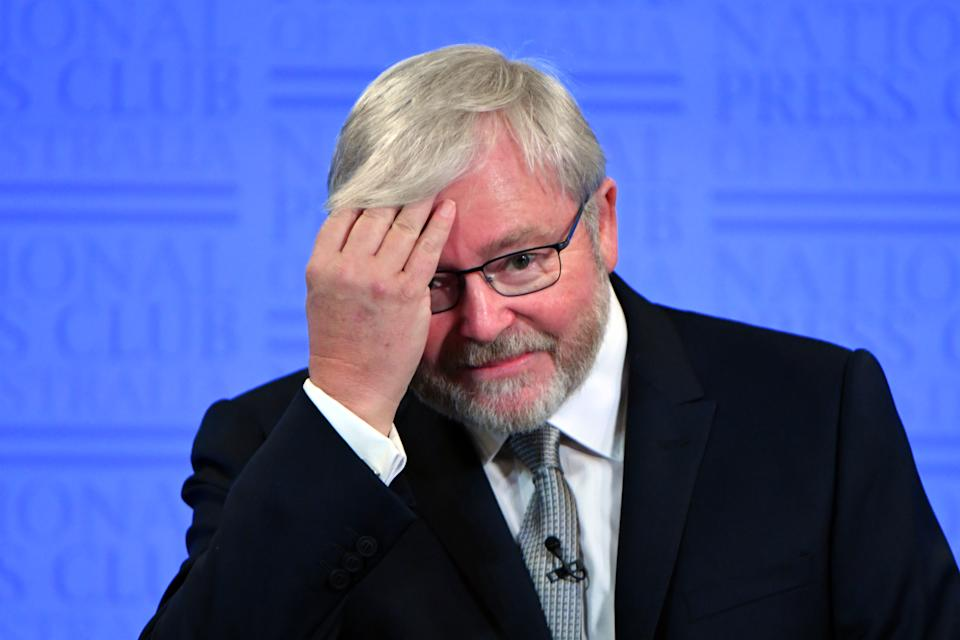 Former prime minister Kevin Rudd at the National Press Club in Canberra. Source: AAP