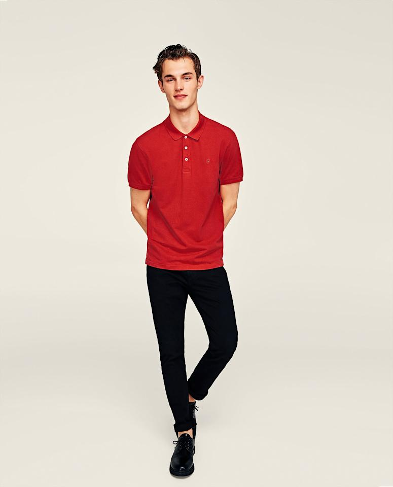 "<p>If your prefer a plain and casual festive look, ZARA's Basic Pique Polo Shirt should be your pick. You can purchase it online at <a rel=""nofollow"" href=""https://www.zara.com/sg/"">https://www.zara.com/sg/</a>. </p>"
