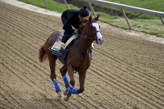 Improbable exercises in preparation for the Preakness Stakes horse race, Thursday, May 16, 2019, at Pimlico Race Course in Baltimore. The race is scheduled to take place Saturday, May 18. (AP Photo/Will Newton)