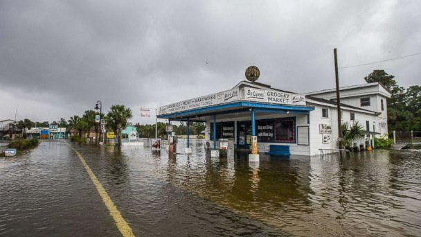 PHOTO: Bo Lynn's Market starts taking water in the town of Saint Marks as Hurricane Michael pushes the storm surge up the Wakulla and Saint Marks Rivers which come together here on Oct. 10, 2018 in Saint Marks, Fla. (Mark Wallheiser/Getty Images)