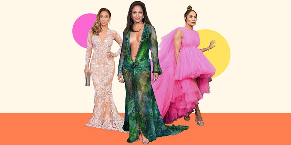 "<p>Jennifer Lopez can't stop, won't stop wearing the fiercest, most extra outfits—and we don't want her to! Her looks are head-to-toe perfection and are always unique. J.Lo chooses risky outfits that a mere normal person (me) could never wear, and yes, I'm specifically referencing the <a href=""https://www.cosmopolitan.com/style-beauty/fashion/a29153095/jennifer-lopez-versace-grammys-dress-runway/"" rel=""nofollow noopener"" target=""_blank"" data-ylk=""slk:plunging Versace gown"" class=""link rapid-noclick-resp"">plunging Versace gown</a> that is the reason for the invention of Google's image search function. But J.Lo pulls off <em>everything</em> she wears and stays true to herself and her style with every outfit. <br></p><p>Click through for her most jaw-dropping style moments of all time. </p>"