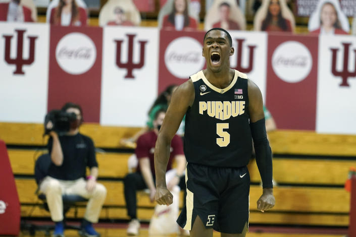 Purdue's Brandon Newman reacts after Purdue defeated Indiana, 81-69, in an NCAA college basketball game, Thursday, Jan. 14, 2021, in Bloomington Ind. (AP Photo/Darron Cummings)