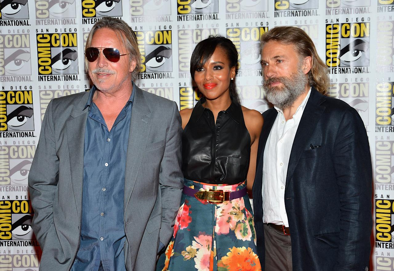 "SAN DIEGO, CA - JULY 14:  Actors Don Johnson and Kerry Washington and Christoph Waltz attend ""DJango Unchained"" Press Line during Comic-Con International 2012 at Hilton San Diego Bayfront Hotel on July 14, 2012 in San Diego, California.  (Photo by Frazer Harrison/Getty Images)"