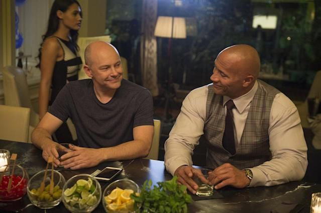 Corddry and Dwayne Johnson in <em>Ballers.</em> (Photo: Jeff Daly/HBO)