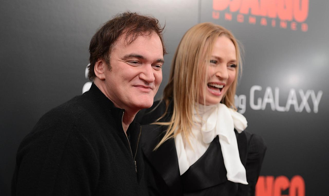 """NEW YORK, NY - DECEMBER 11:  Quentin Tarantino and Uma Thurman attend a screening of """"Django Unchained"""" hosted by The Weinstein Company with The Hollywood Reporter, Samsung Galaxy and The Cinema Society at Ziegfeld Theater on December 11, 2012 in New York City.  (Photo by Stephen Lovekin/Getty Images)"""
