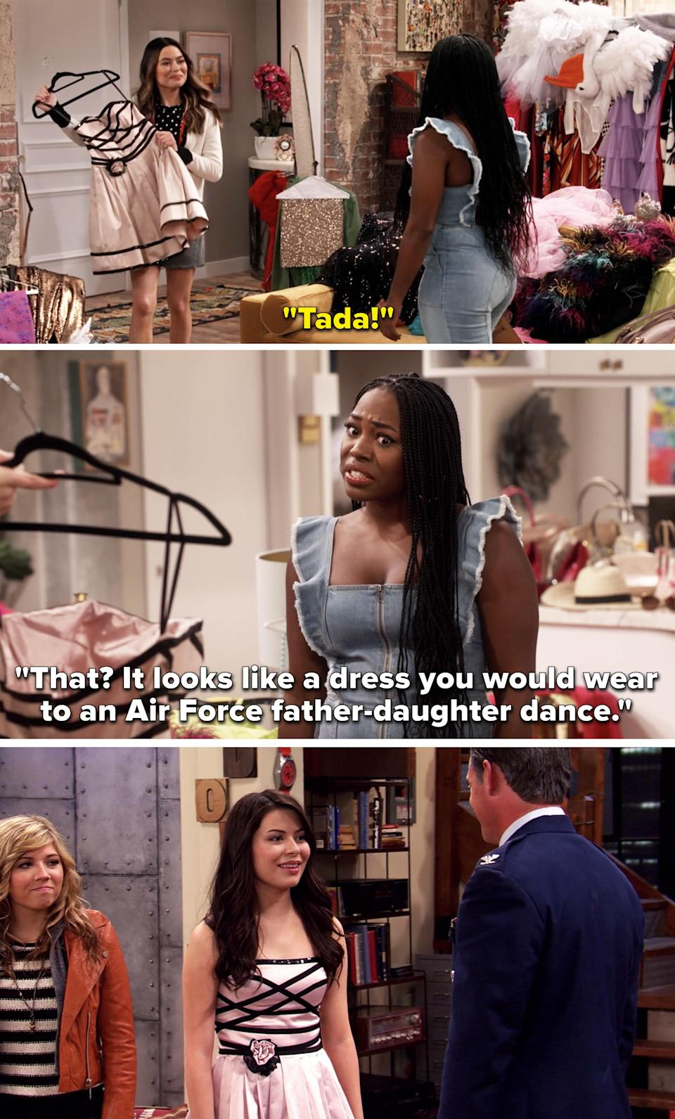 """Carly holding up her old pink and black dress and Harper saying, """"It looks like a dress you would wear to an Air Force father-daughter dance"""""""