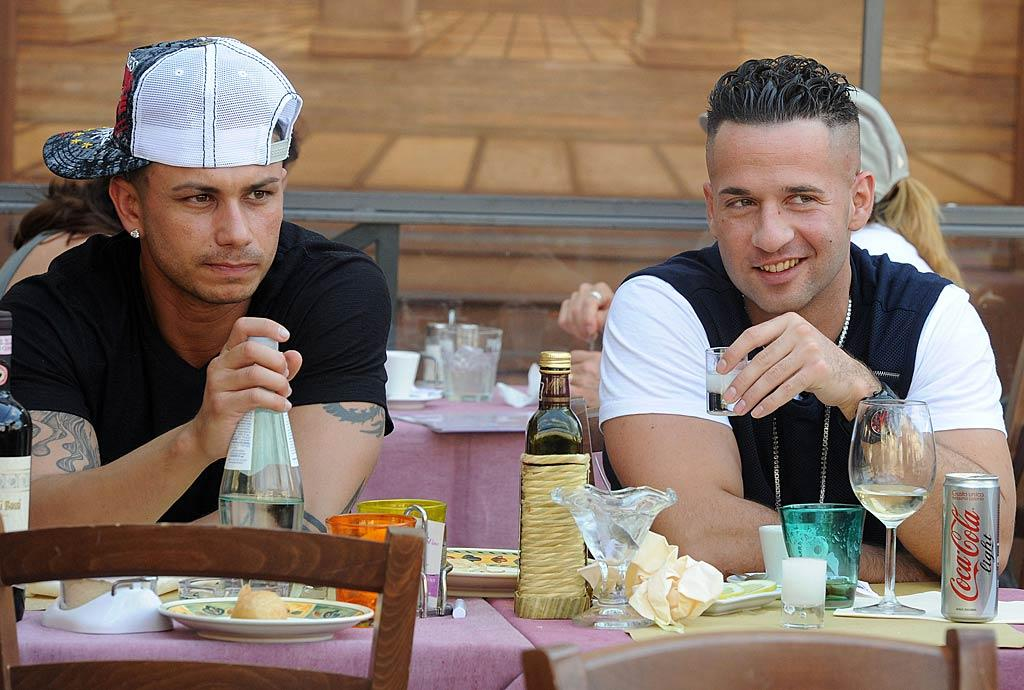 """The """"Jersey Shore"""" gang is making themselves at home in Italy! Pauly D and The Situation noshed on Florence's local cuisine on Thursday. Think the two were plotting how to pick up some local ladies after lunch? <a href=""""http://www.infdaily.com"""" target=""""new"""">INFDaily.com</a> - May 26, 2011"""