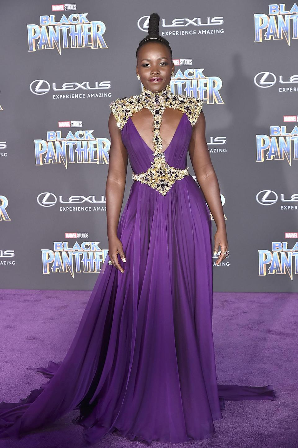 The 36-year-old pulled off a series of powerful looks while promoting 'Black Panther' in 2018 [Photo: Getty]