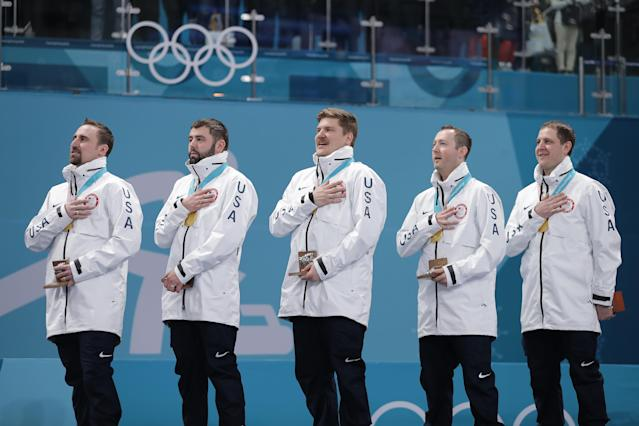 The United States won the curling gold medal on Saturday, beating Sweden 10-7. (Getty Images)