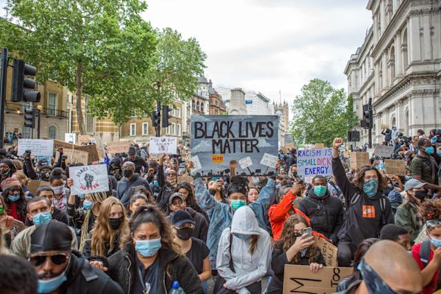 Protesters during the demonstrations in London. (Rahman Hassani/SOPA Images/LightRocket via Getty Images)