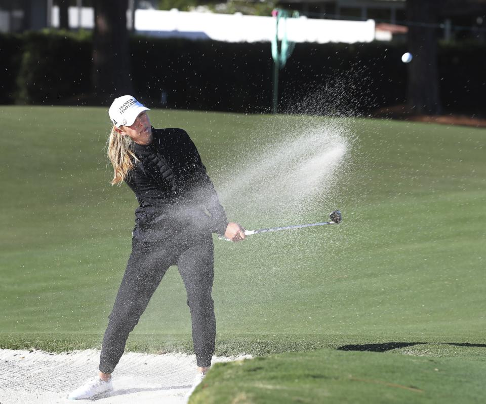 Jessica Korda hits her ball out of a sand trap on the 16th hole during the first round of the LPGA Pelican Women's Championship golf tournament at Pelican Golf Club, Thursday, Nov. 19 2020, Belleair, Fla. (Scott Keeler/Tampa Bay Times via AP)