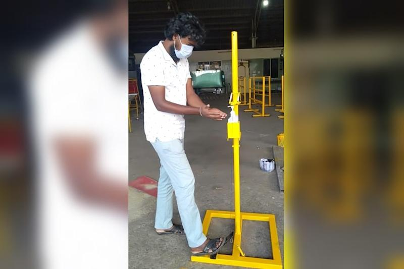Jugaad-Sanitising: Transport Workers Build Soap Dispensing Machines From Scrap