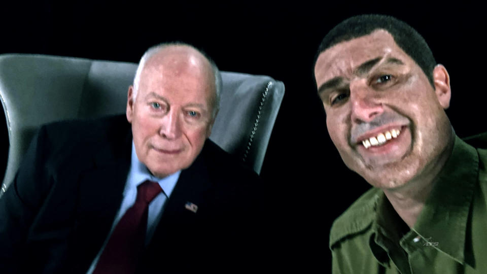 Former Vice President Dick Cheney, left, and Sacha Baron Cohen (Credit: Showtime via AP)