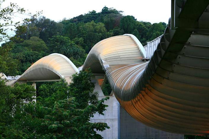 At it's highest point Henderson Waves bridge is just over 118 feet, making it Singapore's tallest bridge. The modern pedestrian bridge is surrounded by the regions lush natural foliage. Designed by the U.S.-based firm RSP Architects, Henderson Waves bridge connects Mount Faber Park and Telok Blangah Hill Park.