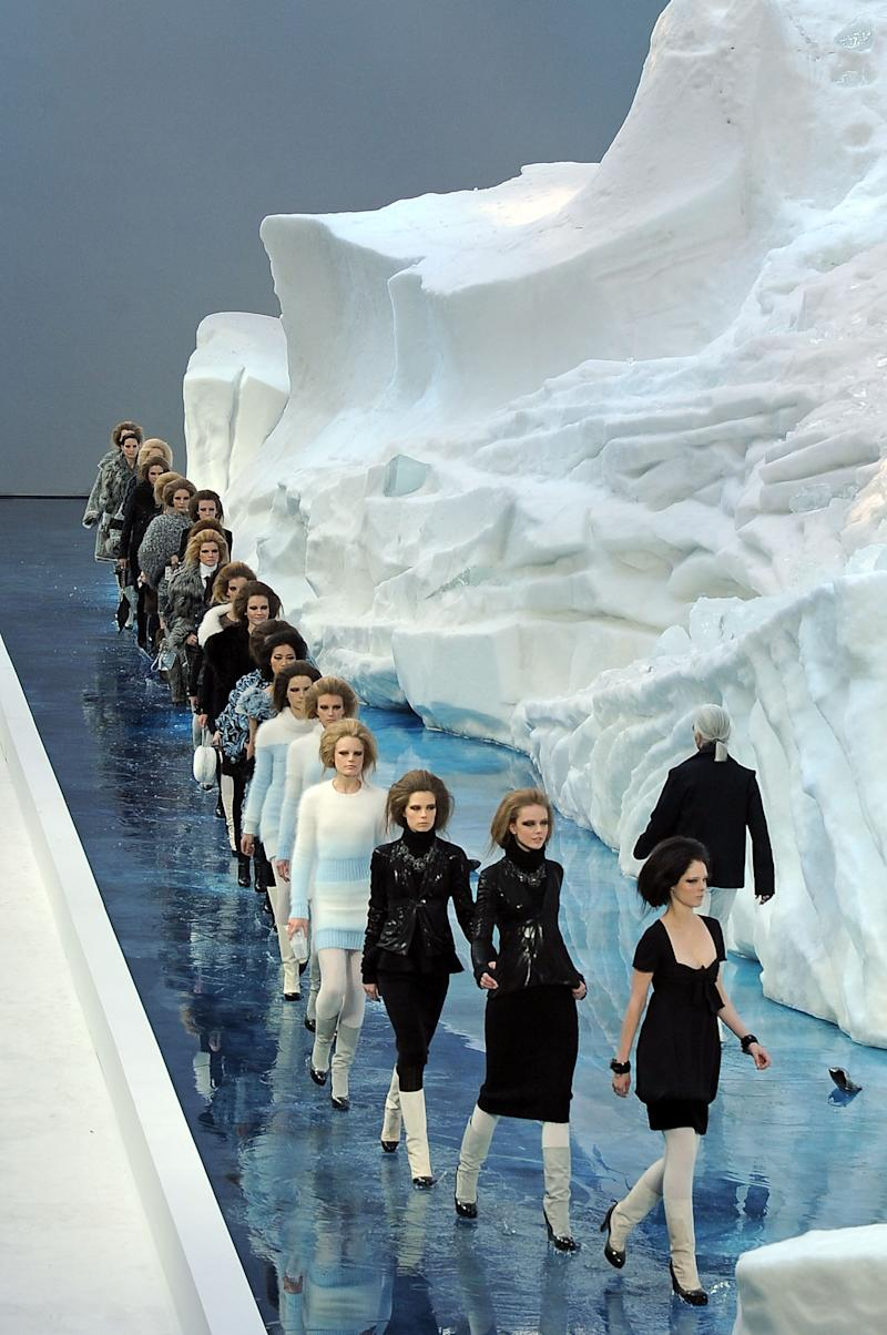 It wasn't so much the clothes that caused a stir at Chanel's fall 2010 show, but rather the enormous 265-ton, 30-foot tall iceberg that Lagerfeld took great pains to import from Sweden, as a symbol of sorts for global warming. (Never mind that it took six days and a careful maintenance of a temperature of 25 degrees Fahrenheit for it to make it all the way to Paris.)