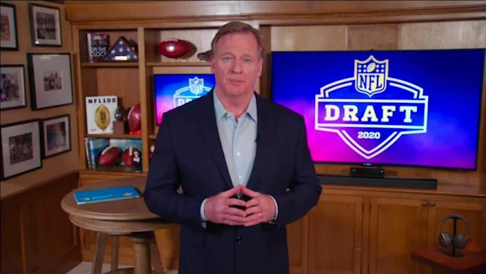 NFL Commissioner Roger Goodell speaks from his home in Bronxville, New York during the NFL draft on April 23, 2020. | NFL/Getty Images