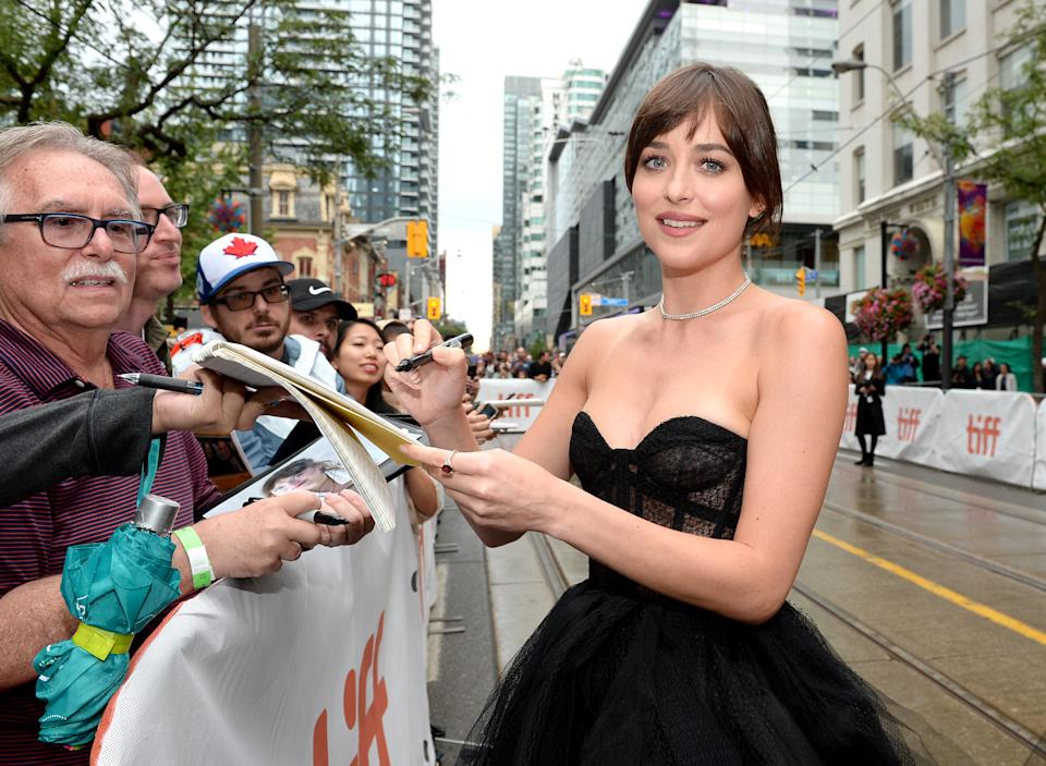 "TORONTO, ONTARIO - SEPTEMBER 06: Dakota Johnson attends ""The Friend"" premiere during the 2019 Toronto International Film Festival at Princess of Wales Theatre on September 06, 2019 in Toronto, Canada. (Photo by GP Images/Getty Images)"